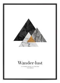 Poster - Wanderlust - goud/zwart