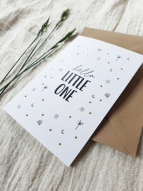 Dubbele wenskaart + envelop | Hello little one | Goudfolie