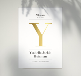 Geboorteposter - GOUDFOLIE -  Letter Vogue