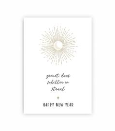 Ansichtkaart kerst - happy new year - goudfolie