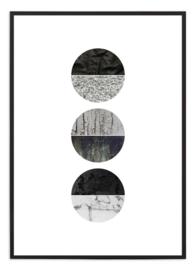 Poster - Circles - zwart/wit