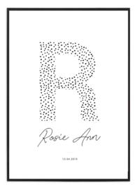 Geboorteposter - Letter dots I