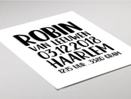 Geboorteposter - Typografisch