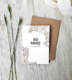 Dubbele wenskaart + envelop | Just Married | Goudfolie