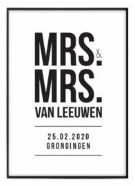Trouwposter - Mrs. & Mrs.
