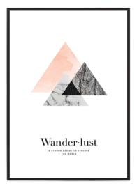 Poster - Wanderlust - roze/zwart