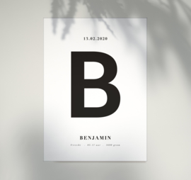 Geboorteposter - Bold Letter - Zwart