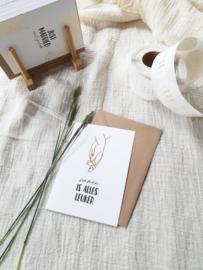 Dubbele wenskaart + envelop | Samen is alles leuker | Goudfolie