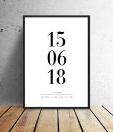 Geboorteposter - Geboortedatum