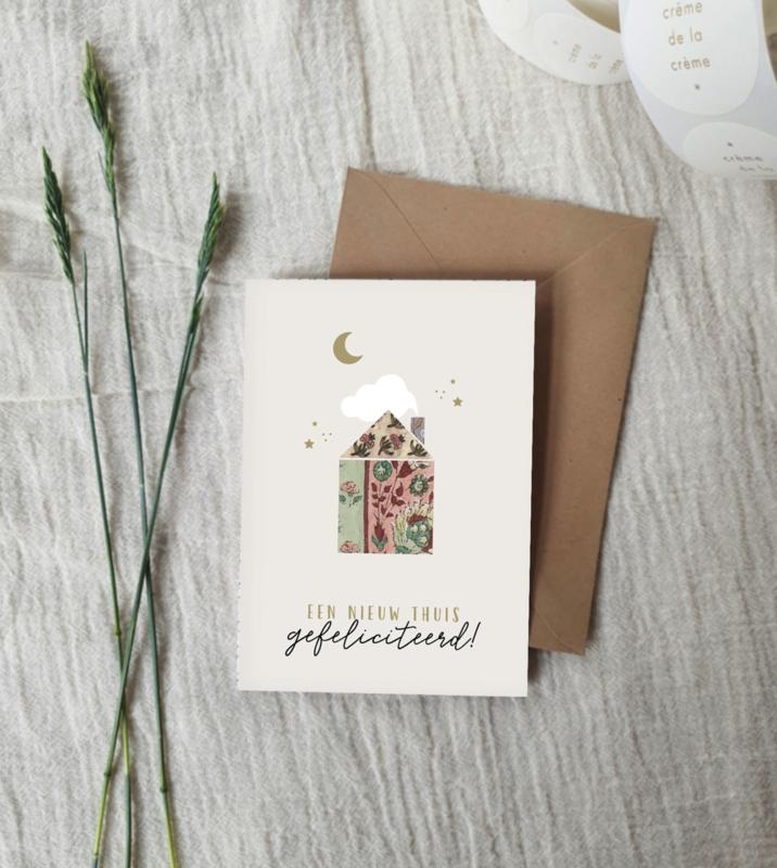 Dubbele wenskaart + envelop | nieuw thuis