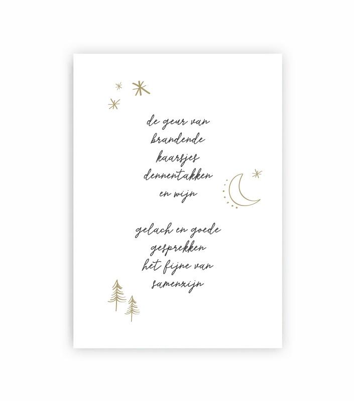 Ansichtkaart kerst - samenzijn - goudfolie