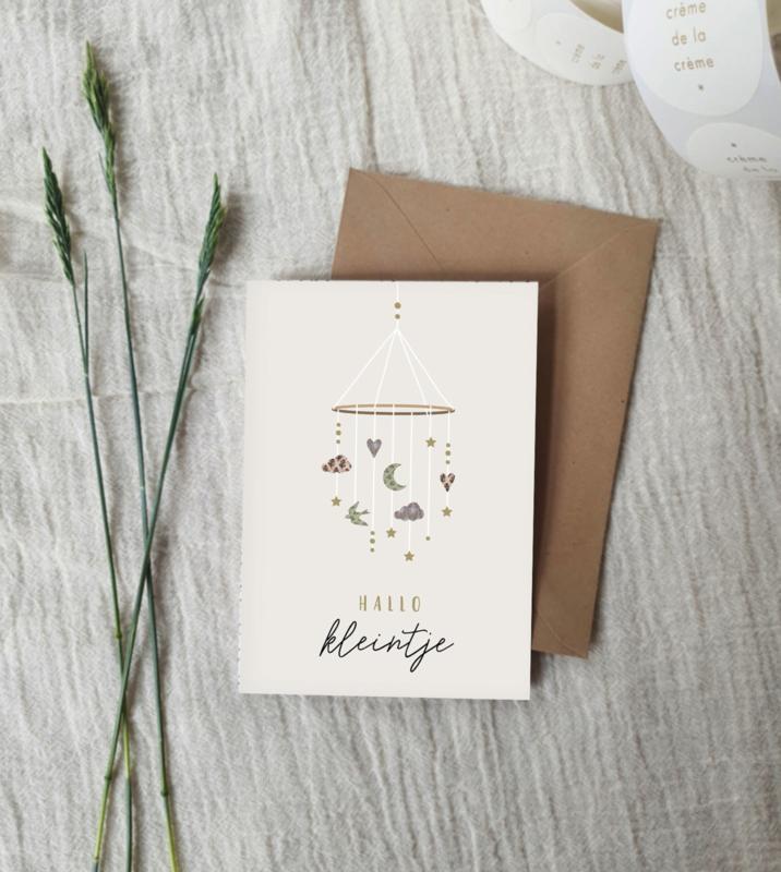 Dubbele wenskaart + envelop   geboorte   unisex