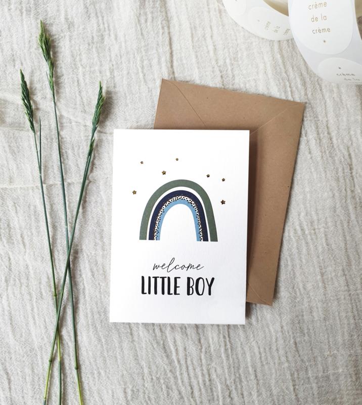 Dubbele wenskaart + envelop | Welcome little boy | Goudfolie