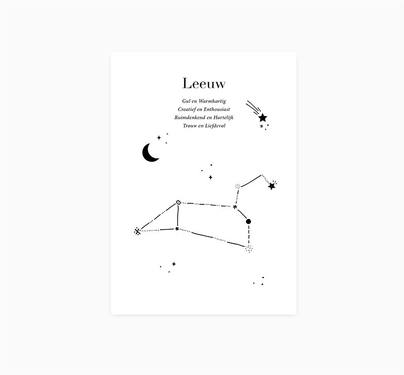 Ansichtkaart    Sterrenbeeld    Leeuw