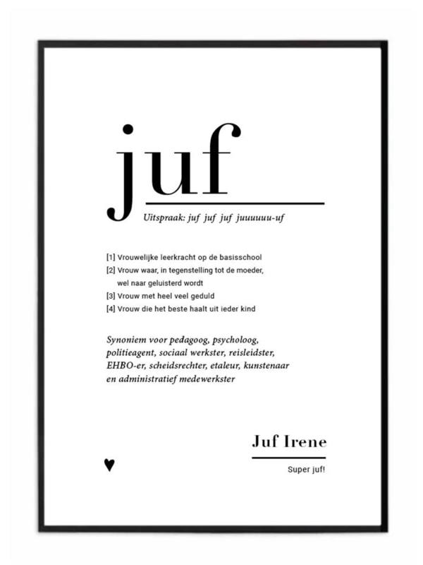 gepersonaliseerde A4 poster - JUF