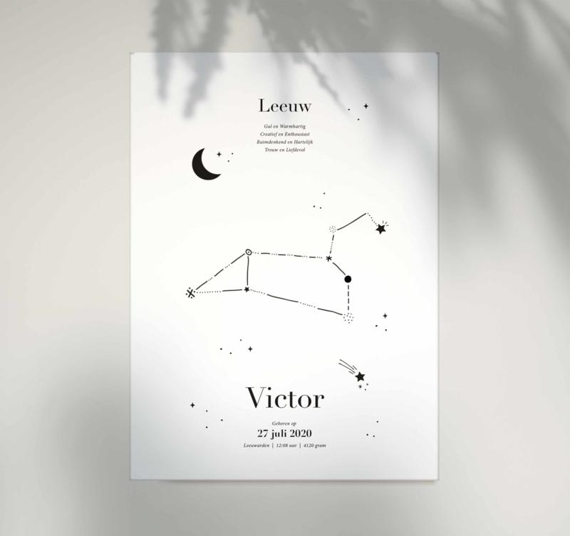 Sterrenbeeld poster - Leeuw