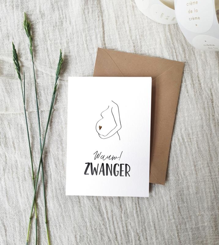 Dubbele wenskaart + envelop   Wow! Zwanger   Goudfolie