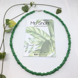 Beaded choker necklace // matte green