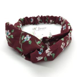 Haarband // bordeaux bloemetjes