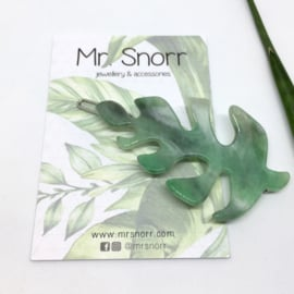 Hair clip // green leaf