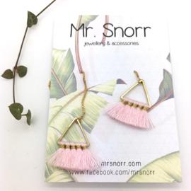 Triangle tassel earrings // pink