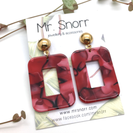 Square earrings // red