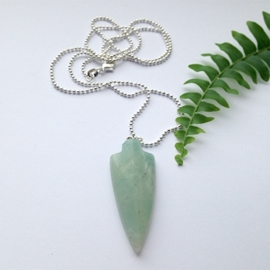 Arrow amazonite // silver plated necklace