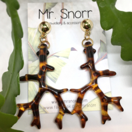 Leopard coral earrings