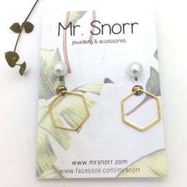 Hexagon ear skirts // pearl