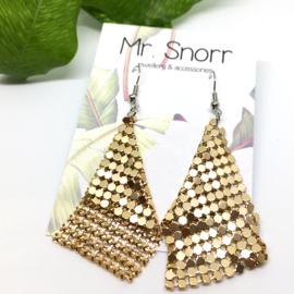 90's mesh earrings // gold