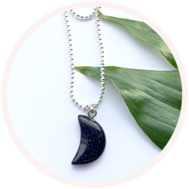 Blue Sandstone moon // silver plated necklace