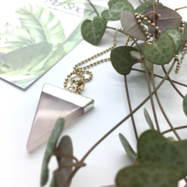 Triangle rose quartz pendant // silver plated necklace
