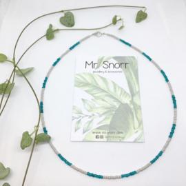 Beaded choker necklace // grey petrol