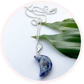 Sodalite moon // silver plated necklace