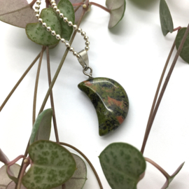 Unakite moon // silver plated necklace