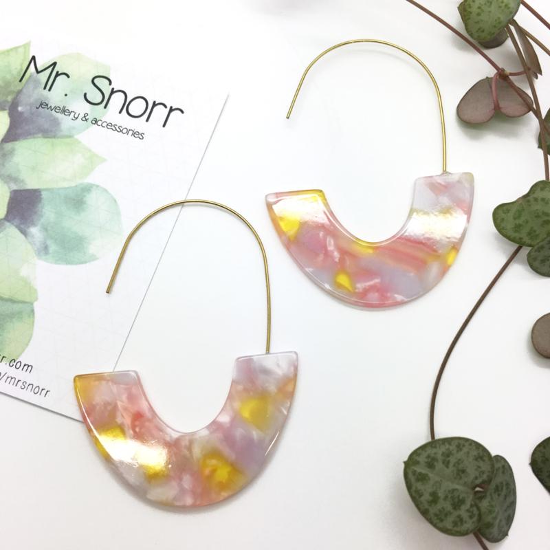 Summer earrings // yellow pink