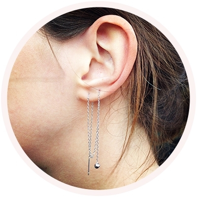 Braiding earring 'dot' // 925 Sterling silver