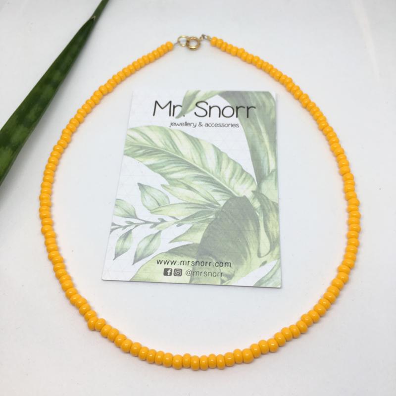 Beaded choker necklace // bright orange