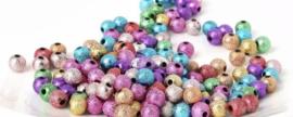 Multi glitter kralen 6 mm 50 stuks