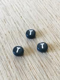 10 x letter T ROND ZWART