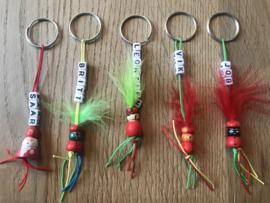 5 random sleutelhangers met naam