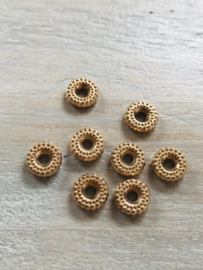 Goudkleurige  rondjes 7x8mm 10 stuks