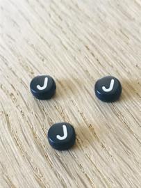 10 x letter J ROND ZWART