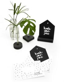 Zwarte kaart huisje 'Kook van jou' met bedrukte envelop