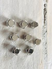 zilveren blokjes 6x6mm 10 stuks