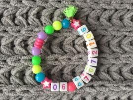 Naamkralensleutelhanger Armband met Nummer