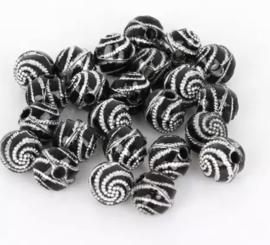 Swirl zwart 50 stuks 8 mm