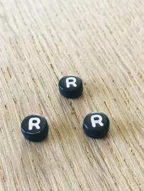 10 x letter R ROND ZWART