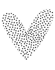 Muurcirkel in hart vorm met stippen