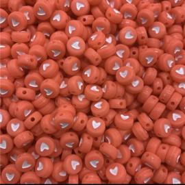 Fluor rode hartjes 7 mm 50 stuks